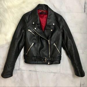 ABS Allen Scwartz Faux Leather Motorcycle Jacket